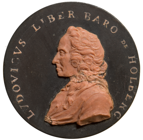 Medallion inscribed with LVDOVICVS LIBER BARO DE HOLBERG with a portrait of LH